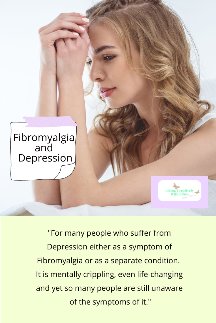 A Pinterest sized image of the Fibromyalgia and Depression blog graphic with a quote from the post added.