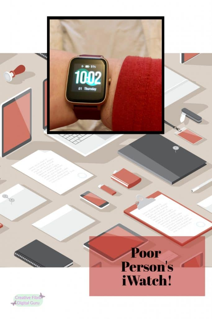 Pinterest sized graphic of the Poor Person's iWatch blog image