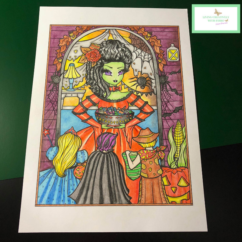 A Halloween image I coloured with coloured pencils, an example of adult colouring.