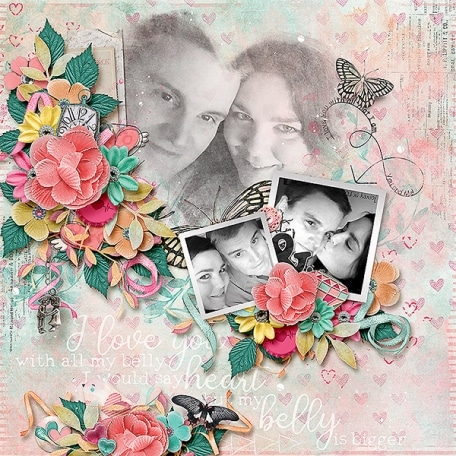 Love you more than my belly layout mdd designs all the feelings templates masks clusters blending image from Pixelscrapper webside