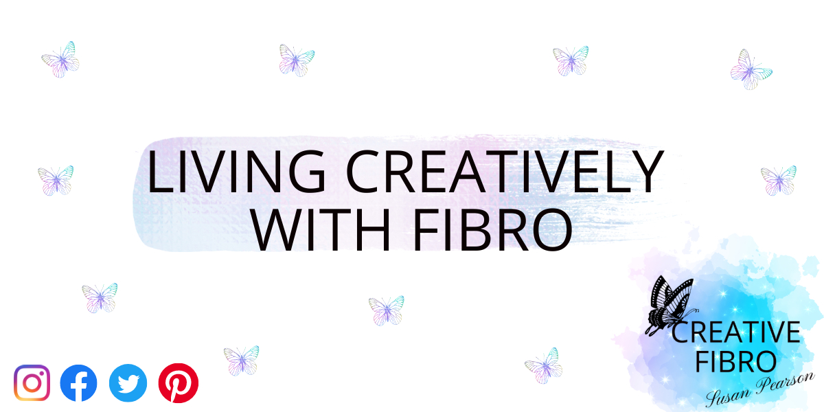 g Creatively with Fibro Header Banner with the title and iridescent butterflies